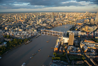 London. Aerial view of Bankside and the City of London