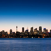 Sydney skyline at dusk from Bradleys Head in Sydney Harbour National Park, Mosman, New South Wales, Australia