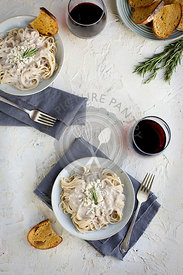 Rosemary Gorgonzola Pesto Cream Sauce over Spaghetti
