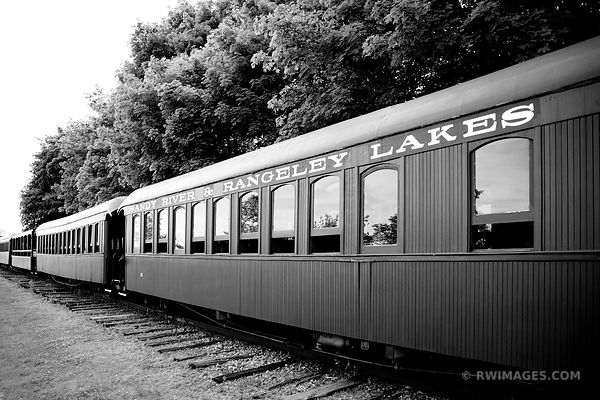 VINTAGE TRAIN PORTLAND MAINE BLACK AND WHITE