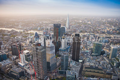 Aerial view of City of London, Heron Tower with Leadenhall Building and Tower 42 towads The Shard.