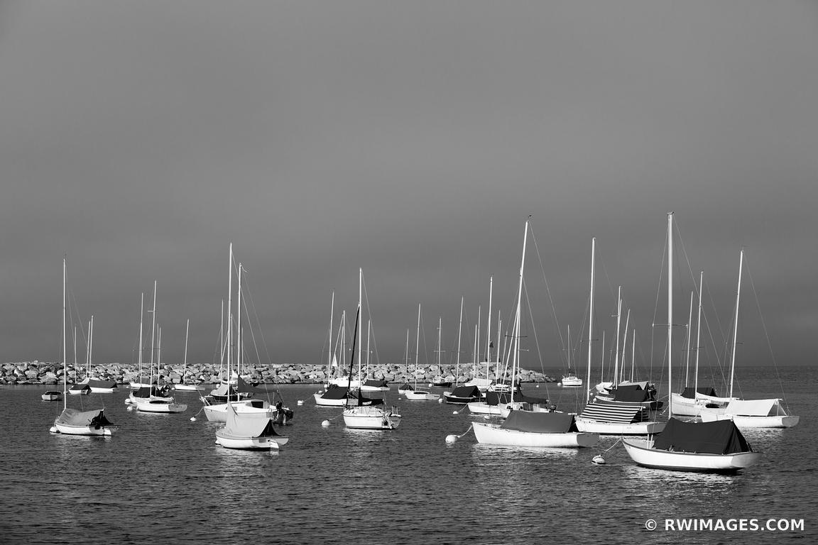 SAILBOATS IN HARBOR ROCKPORT CAPE ANN MASSACHUSETTS BLACK AND WHITE