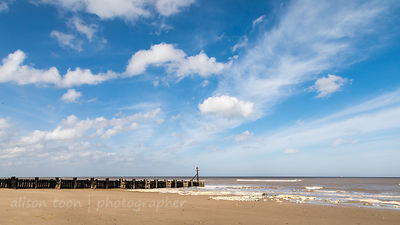 West Runton beach on a sunny day at low tide