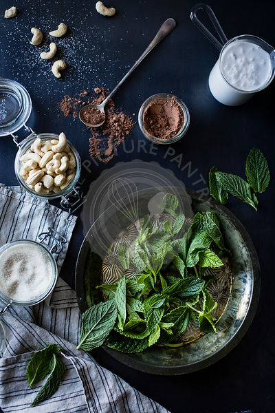 Mint and other ingredients ready for use in a recipe