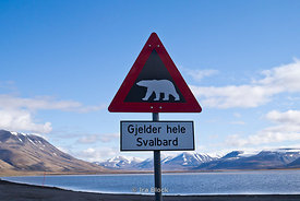 A polar bear warning sign at the bayside of Advent Bay, Longyearbyen, Norway.