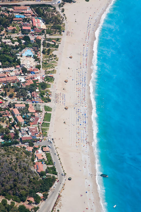 Aerial view of Oludeniz and Belcekiz beach, known as the 'Turquoise coast', Oludeniz near Fethiye, Mediterranean Coast, Turkey 2008