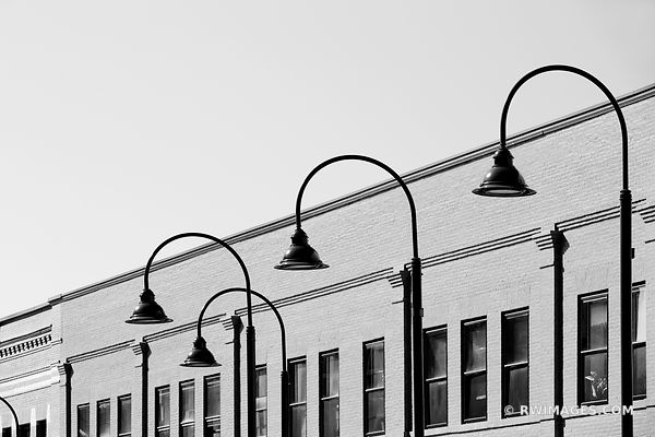 STREET LAMPS BURLINGTON VERMONT BLACK AND WHITE