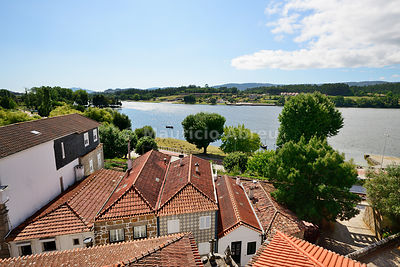Vila Nova de Cerveira and Minho river. Galicia, in Spain, on the background. Portugal