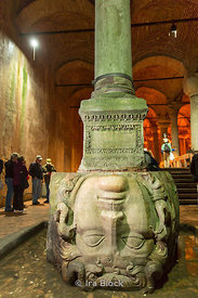 Medusa head pillar at the Basilica Cistern,  the largest of several hundred ancient cisterns in Istanbul.