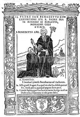 St Benedict presents monastic rules to Rogiero di Barletta