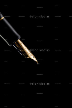 Gold feather in side view of sophisticated fountain pen on black background