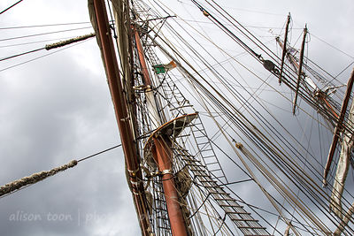 Tall ships near Samuel Becket bridge, Dublin