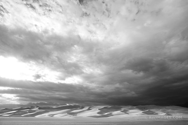 GREAT SAND DUNES NATIONAL PARK COLORADO DESERT SUNSET BLACK AND WHITE