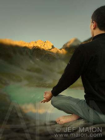 Meditation in beautiful mountain landscape
