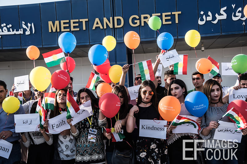 Kurds protest peacefully against the closure of their international airports to all international flights by the Iraqi government. Erbil International Airport, 29th September, 2017