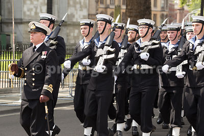 Sailors from the Royal Navy March with fixed Bayonets