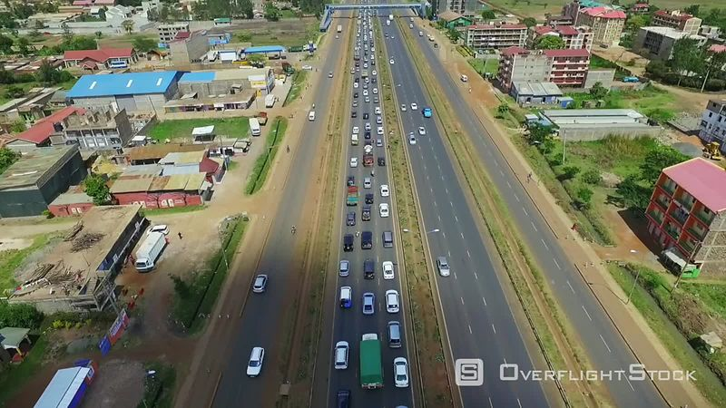 Busy highway Juja Kiambu Kenya Drone Video