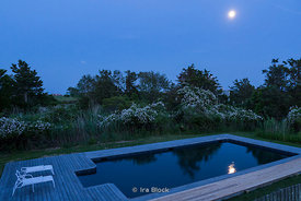 Pool in the moon light in Eastern Long Island.