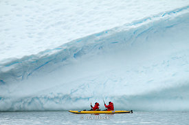 Passengers of National Geographic Explorer enjoying kayak around Pourquoi Pas Island.