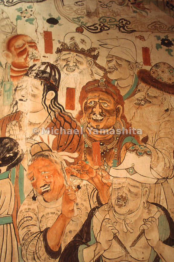 Foreigners mourning Buddha's Death.Mogao Caves, Dunhuang, China