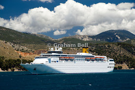 Cruise ship Costa Classica, with Mount Enos in distance, Argostoli Bay, Argostoli, Kefalonia, Ionian Islands,Greece.