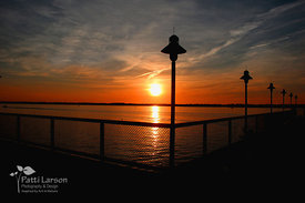 Sunset with Dobbins Landing Lamp Posts