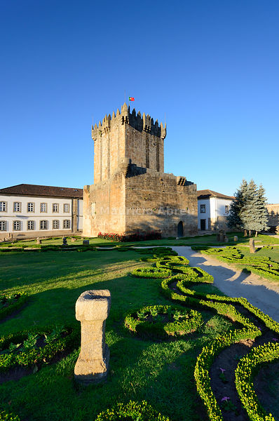 The main tower of the medieval castle of Chaves, dating back to 1258 AC. Trás-os-Montes, Portugal