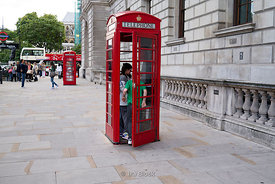 Telephone booth around the City of Westminster in London, England.