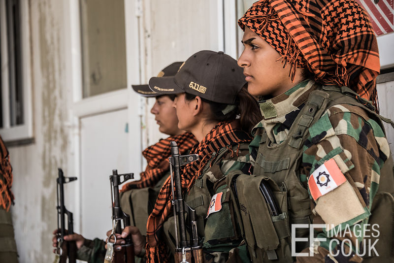 PAK (Kurdistan Freedom Party) female fighters at their base north of Hawija, where Kurdish Iranian fighters are holding the line against the last vestiges of Daesh and preparing to engage the Hashd al Shaabi forces threatening Kirkuk. Kirkuk Governorate, Iraq, 14th October 2017