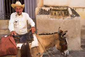 A old man smoking a cigar and holding a donkey on the street in Trinidad, Cuba.