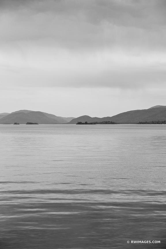 LAKE GEORGE ADIRONDACK MOUNTAINS BLACK AND WHITE