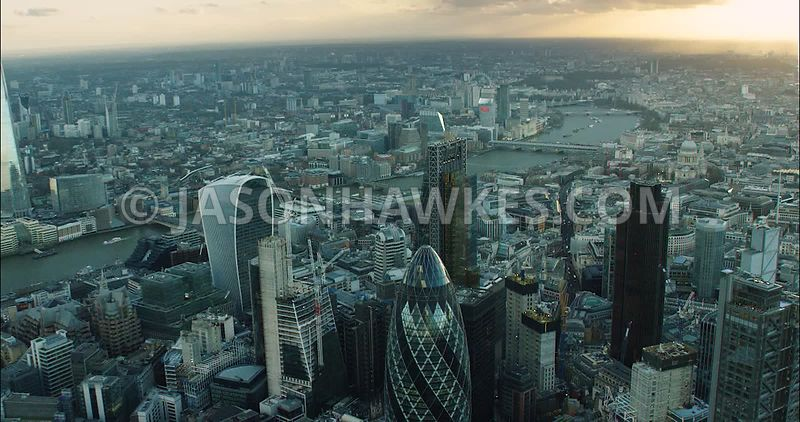 London Aerial Footage of  Leadenhall Building with 20 Fenchurch Street and Financial District close up.