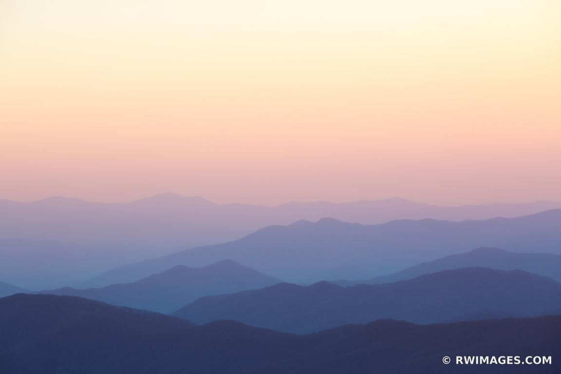 VIEW FROM CLINGMANS DOME SMOKY MOUNTAINS RIDGES COLOR