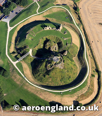 aerial photograph of Sandal Castle, Sandal Magna,Wakefield , West Yorkshire England UK