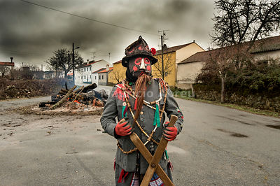 "The ""carocho"", the character thats steals the sausages of the villagers. Traditional Winter festivities in Constantim. Miranda do Douro, Tras-os-Montes. Portugal"