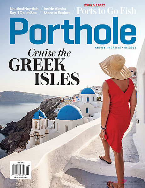 Porthole magazine cover santorini greece