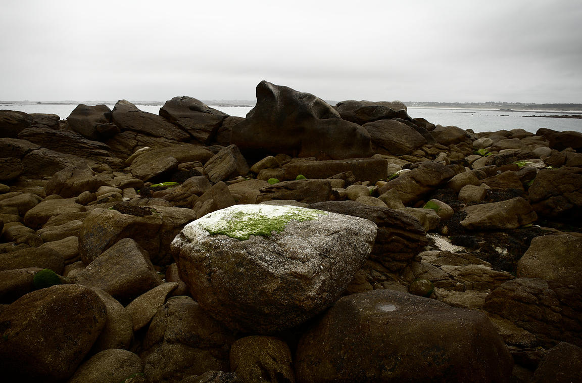 Round rock on rocky shore