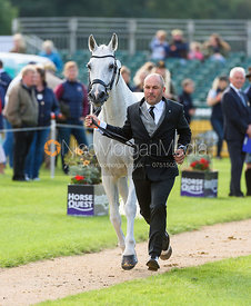 Warren Lamperd and SILVIA at the trot up, Land Rover Burghley Horse Trials 2018
