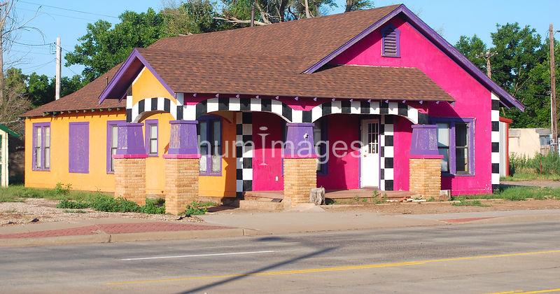 Unique colorful house in Childress, Texas
