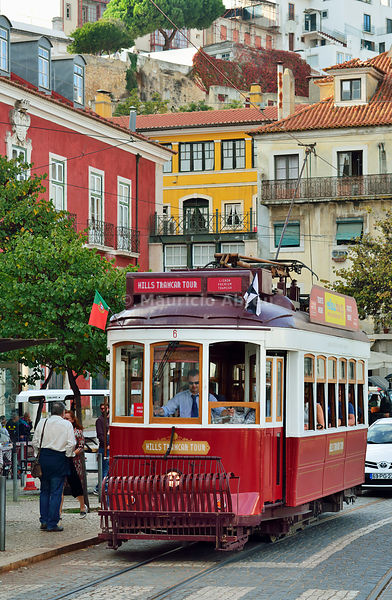 A tramway in Alfama district. Lisbon, Portugal