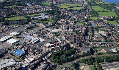 Bury town Centre,  Bury Greater Manchester from the air