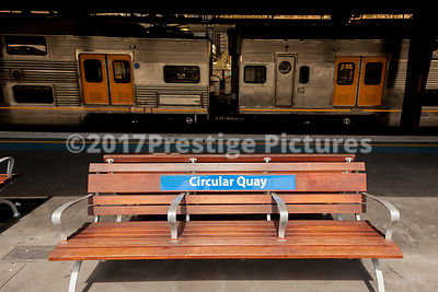 Bench on the Platform at Sydney's Circular Quay Rail Station