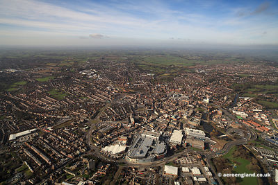 panoramic aerial photograph of  Derby city centre Derbyshire England UK