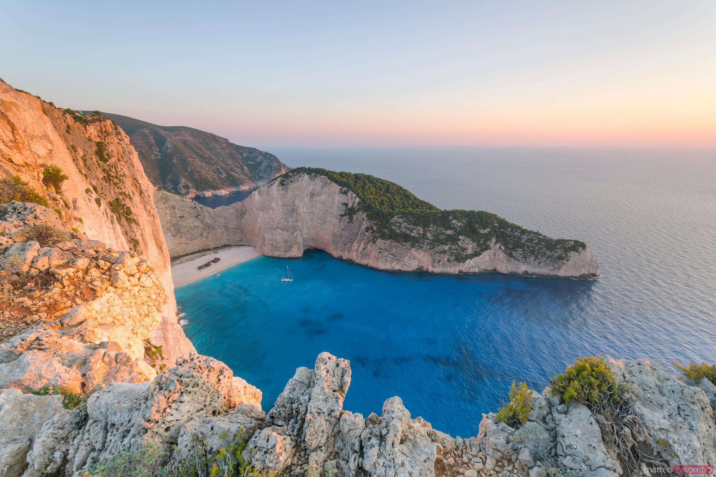Famous Navagio shipwreck beach at sunset, Zante, Greece