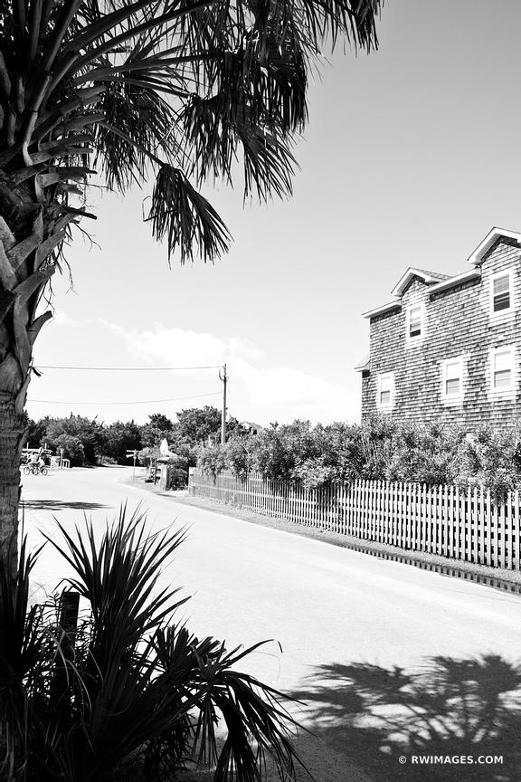 OCRACOKE ISLAND VILLAGE OUTER BANKS NORTH CAROLINA BLACK AND WHITE