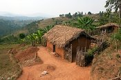Homestead on the edge of a mountain side. Butare region, Rwanda.
