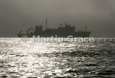 Polar vessel Akademik Sergey Vavilov photographed against the light, Albert I Land, Spitsbergen, Svalbard