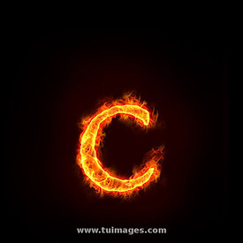 fire alphabets, small letter c