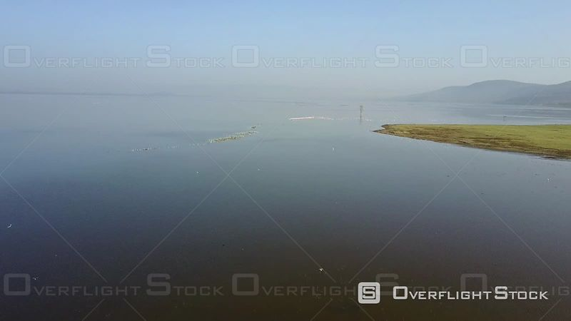 Aerial View of Lake Nakuru and Pink Flamingos, Filmed by Drone, Kenya