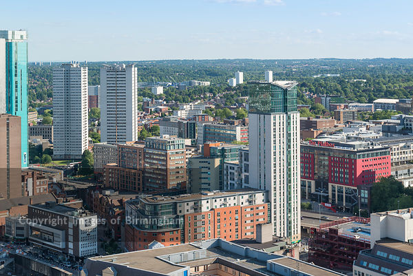 Aerial photograph of Birmingham City Centre, England.